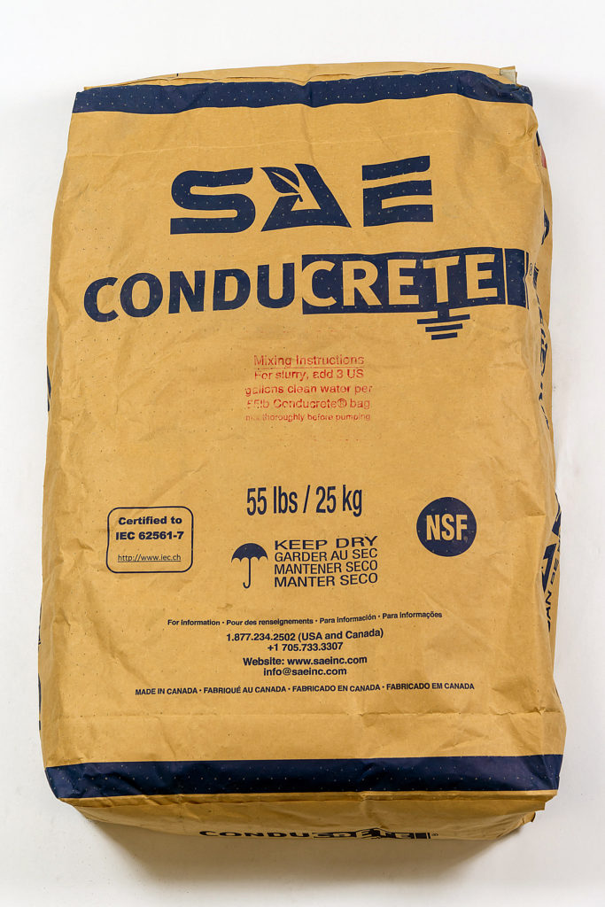 A bag of Conducrete conductive concrete the best product of its type