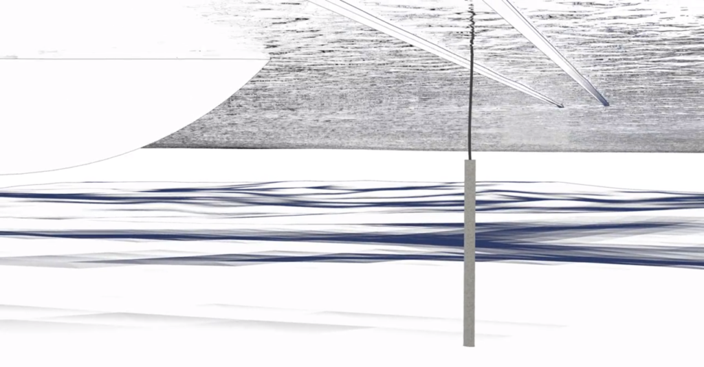 A marine electrode rests on the harbour bed providing a high performance electrical earth.