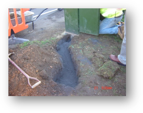 shallow excavation earthing with Conducrete example
