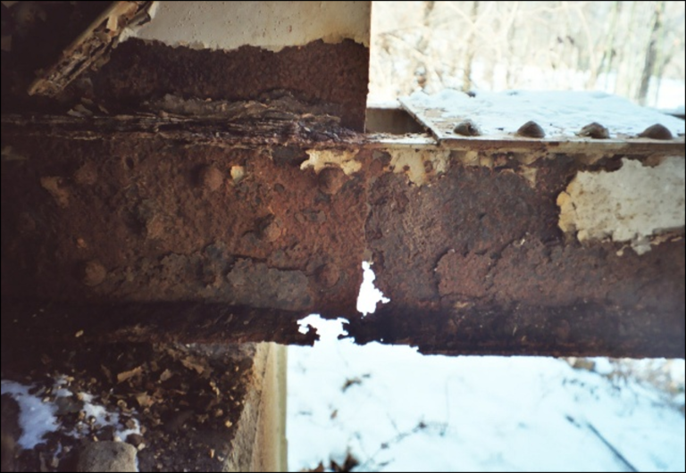 Stray current corroded structural steel